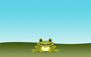 Animal Themes Digital Art Posters - Cute Frog Sitting On The Grass Poster by © Roctopus