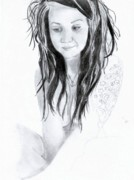 Naked Drawings Originals - Cute Girl by Leslie Schofield