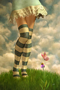 Legs Mixed Media Posters - Cute Girl with Striped Socks Poster by Ana CBStudio