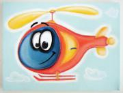 Hanging Pastels Originals - cUTE hELiCoPTER by Mara Morea