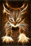 Cute Cat Digital Art Posters - Cute Little Kitten Poster by Pamela Johnson