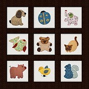 Pig Mixed Media Posters - Cute Nursery Animals Baby Quilt Poster by Tracie Kaska