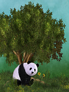 Friendly Digital Art - Cute Panda by Simone Gatterwe