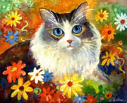 Cute Kitten Drawings Prints - Cute Ragdoll Tubby Cat in flowers Print by Svetlana Novikova