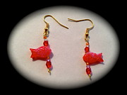 Animals Jewelry Posters - Cute red fishes earrings Poster by Pretchill Smith