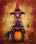 Jutta Pusl Prints - Cutest Little Witch Print by Jutta Maria Pusl