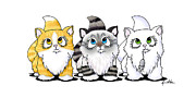 Cute Cat Drawings Prints - Cutie Face Kitten Trio Print by Kim Niles