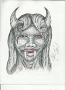 Fangs Drawings Posters - Cutie With Horns Poster by Clyde Taylor