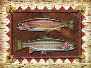 Flyfishing Painting Prints - Cutthroat and Rainbow Trout Lodge Print by JQ Licensing