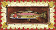 Cabin Painting Prints - Cutthroat Trout Lodge Print by JQ Licensing