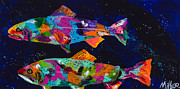 Splashy Painting Originals - Cutthroats by Tracy Miller