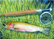 Trout Paintings - Cuttin The Grass by Mark Jennings