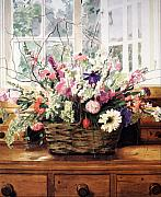 Flower Basket Framed Prints - Cutting Garden Arrangement Framed Print by David Lloyd Glover
