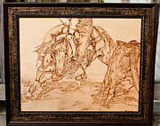 Cowboy Pyrography Originals - Cutting Horse Down in the Dirt by Angel Abbs-Portice