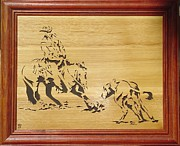 Woodcarving Sculpture Originals - Cutting Horse by Russell Ellingsworth