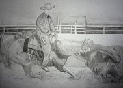 Cowboy Pencil Drawings Posters - Cutting Horse Show Poster by Mary  By The Sea