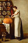 Apron Painting Framed Prints - Cutting the Pumpkin Framed Print by Franck-Antoine Bail