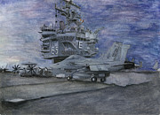 Enterprise Paintings - Cvn 65 Uss Enterprise by Sarah Howland-Ludwig