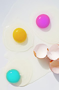 Cracked Egg Prints - Cyan, Magenta And Yellow Yolks Print by Image by Catherine MacBride