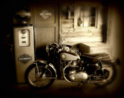 Gas Pump Posters - Cycle Garage Poster by Perry Webster