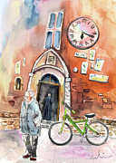Townscapes Drawings - Cycling in Italy 03 by Miki De Goodaboom