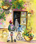 Cycling Drawings Framed Prints - Cycling in Italy 04 Framed Print by Miki De Goodaboom
