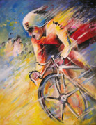 Cycling Art Paintings - Cycling by Miki De Goodaboom