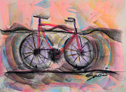 Environment Pastels Prints - Cycling Solo Print by Robert M Sassi