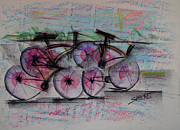 Environment Pastels Prints - Cycling Sunset Print by Robert M Sassi