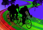 Figures Silhouettes Young Sport Grunge Athletes Prints - Cycling Trio on Ribbon Road Print by Elaine Plesser