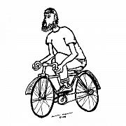 Wheels Drawings Posters - Cyclist - Bike Rider Poster by Karl Addison