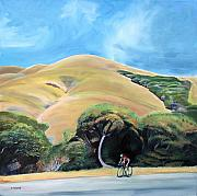 Cycling Originals - Cyclist by Elephant Mountain by Colleen Proppe