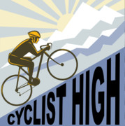 Art Deco Digital Art Posters - Cyclist racing bike Poster by Aloysius Patrimonio