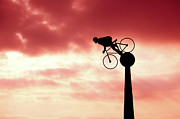 Sunset Art Prints - Cyclist Silhouette Print by Paul Myers-Bennett