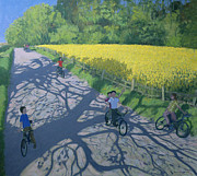 Transportation Painting Posters - Cyclists and Yellow Field Poster by Andrew Macara