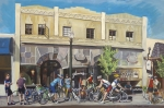 Coffee Shop Painting Posters - Cyclists at the Roasters Poster by Colleen Proppe