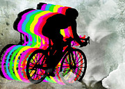 Figures Silhouettes Young Sport Grunge Athletes Prints - Cyclists Cycling in the Clouds Print by Elaine Plesser