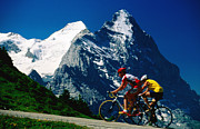 Aster  Framed Prints - Cyclists In Front Of Eiger And Snow-covered Monch, Grosse Scheidegg, Grindelwald, Bern, Switzerland, Europe Framed Print by David Tomlinson