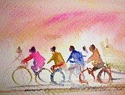 Cyclists Paintings - Cyclists by Siby Chacko