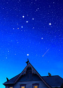 Constellations Digital Art Prints - Cygnus the Swan and the Summer Triangle Print by Kathleen Horner