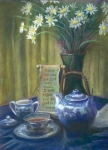 Blue Flowers Pastels - Cyndis Tea Time by Penny Neimiller