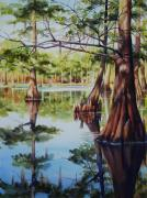 Louisiana Swamp Prints - Cypress in Lake Chicot Print by Sue Zimmermann