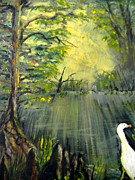 Sun Rays Painting Posters - Cypress Morning Poster by Christy Usilton