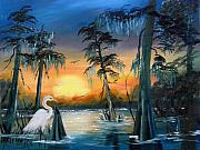 Knees Painting Framed Prints - Cypress Swamp Framed Print by Darlene Richardson