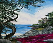 Laura Milnor Iverson Painting Originals - Cypress Tree at Carmel by Laura Iverson