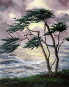 Cambria Paintings - Cypress Tree Just Before the Rain by Laura Iverson
