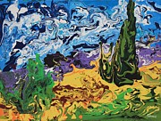 Vangogh Originals - Cypress with Wheat Field after Van Gogh by Art Enrico