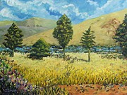Mpumalanga Paintings - Cypresses at Lydenburg by Caroline Street
