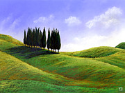 Cypresses At St Quirico D'orcia Print by Theresa Evans
