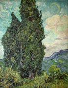 1889 Prints - Cypresses Print by Vincent Van Gogh